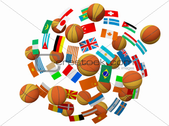 Basketball balls and flags