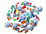Footballs and flags