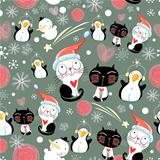 Christmas texture of the cats and penguins