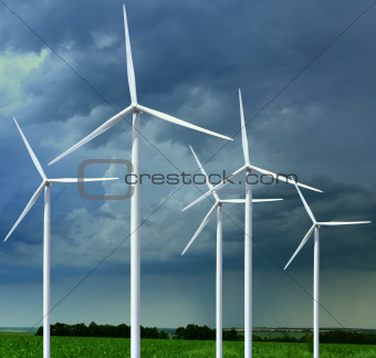 meadow with wind turbines