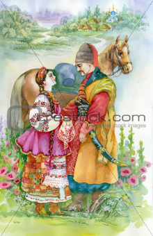 Girl and boy in traditional clothes