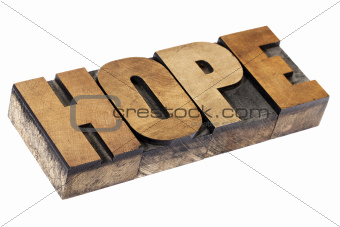 hope word in wood type