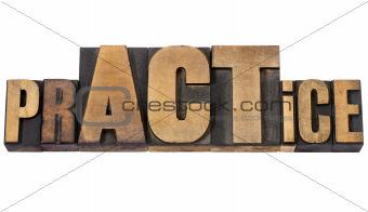 prACTice word in wood type