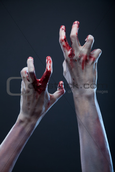 Creepy zombie hands, extreme body-art