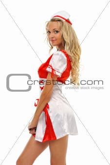Beautiful woman in carnival costume. Nurse shape.