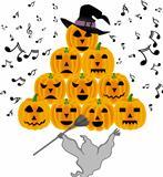 Vintage halloween ghost singing pumpkins
