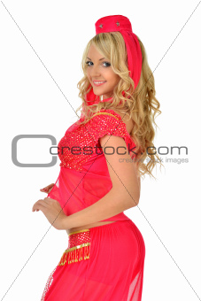 Beautiul blonde woman in orient beauty costume.