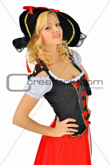 Beautiful blonde woman in   pirate costume.