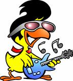 Hand-drawn Vector illustration of an smart chicken playing on guitar