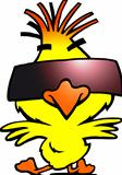 Hand-drawn Vector illustration of an smart dancer chicken with cool sunglasses
