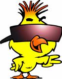 Hand-drawn Vector illustration of an smart chicken with cool sunglass