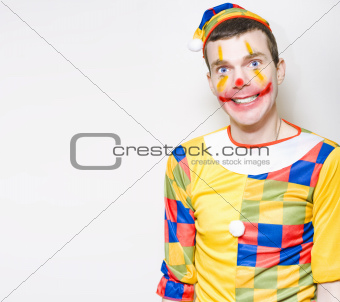 Crazy Male Birthday Party Clown With Funny Smile