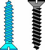 Stainless steel screw. Vector illustration.