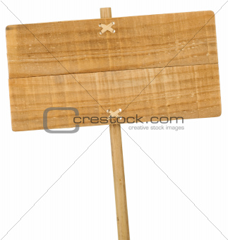 wooden sign isolated over white