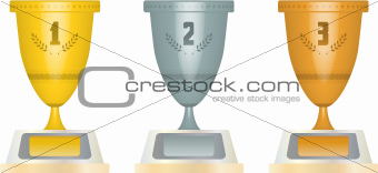 gold silver and bronze cups with numbers