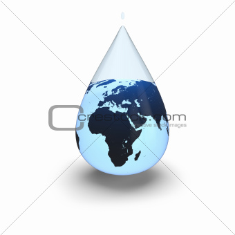Earth inside water drop