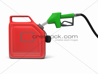 Petrol pump and jerry can