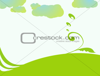 Background vector illustration in green and blue shades