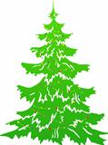 Green Christmas tree with garland