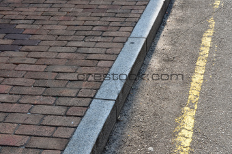 Brick Walkway Stone curb and Road