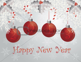 Happy New Year Garland with 2013 Ornaments Illustration