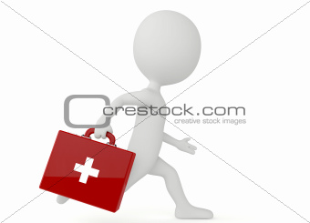 3d humanoid character with a first aid kit