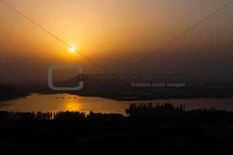 Dal Lake Landscape Aerial View Srinagar Sunset