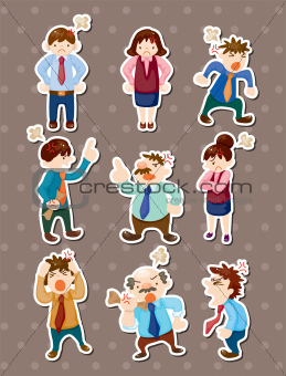 angry office worker stickers
