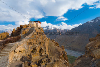 Watchtower Spiti Valley Dhankar Close Mountains
