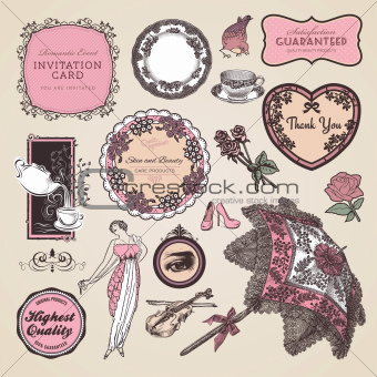 Set of vintage labels and elements