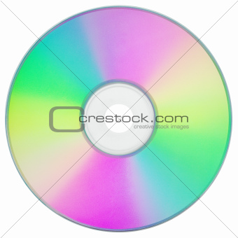 CD or DVD on white with clipping path