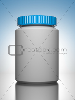 Pill Bottle on Blue Background.