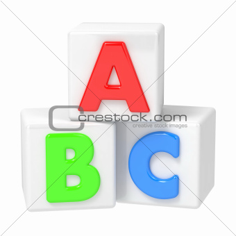 ABC Building Blocks on White Background.