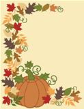 Pumpkin and Leaves Border