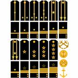 Shoulder straps and stripes with signs of distinction of the Navy of the Russian Army
