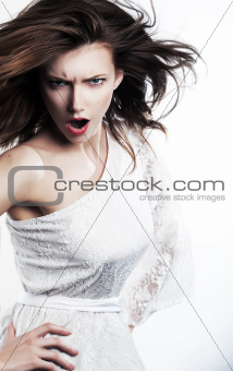 Emotions - emotional strict female girl yelling