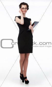 Successful business lady in glasses and black laptop