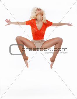 Aerobics. Active acrobatic female dancing