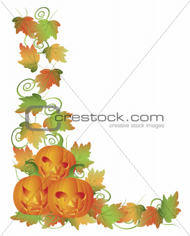 Carved Halloween Pumpkins and Vines Border Illustration