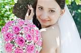 portrait of the bride close up