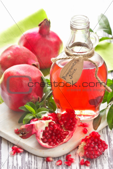 Homemade pomegranate juice.