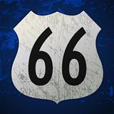 Blue Route 66 Sign
