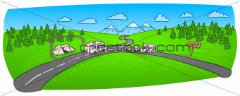 Towing Caravan on the Road