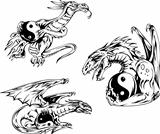 Dragon tattoos with yin-yang signs