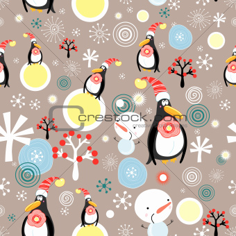 Christmas texture of penguins and snowmen