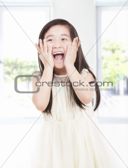 surprised beautiful asian little girl