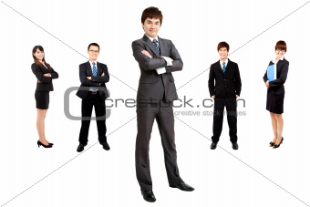smart asian businessman with business team
