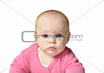 Baby girl on white background