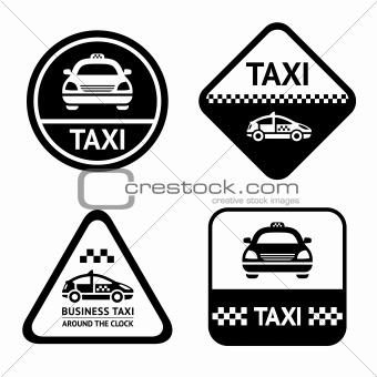 Taxi cab set black buttons