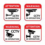 Video surveillance signs set